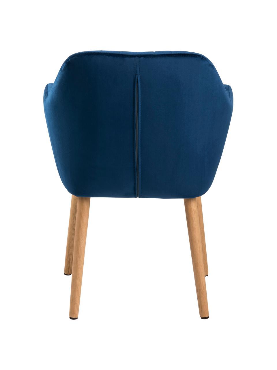 Chaise velours rembourré Emilia, Velours bleu foncé, pieds chêne