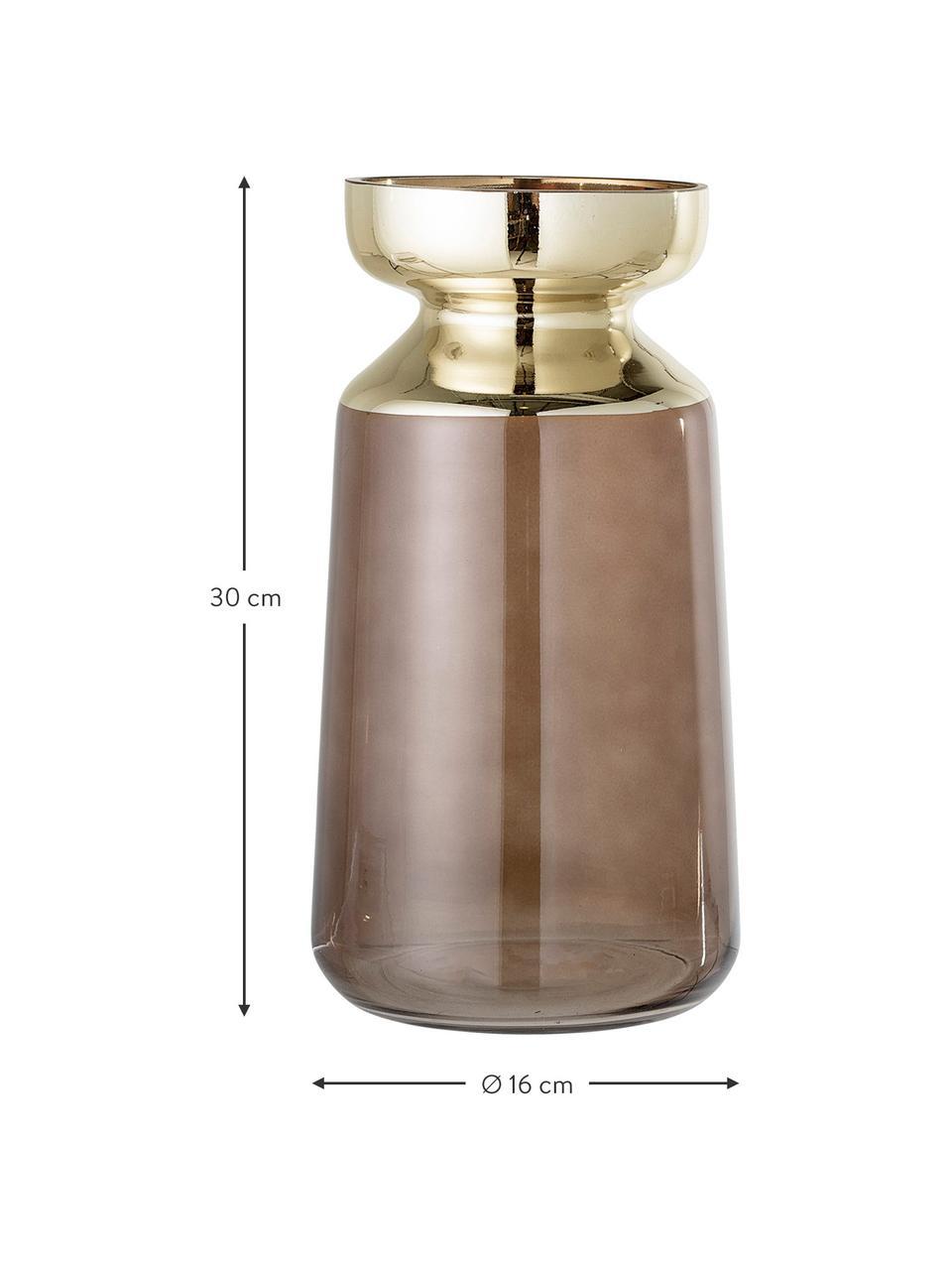 Große Deko-Vase Shimmer aus Glas, Glas, Braun, Goldfarben, Ø 16 x H 30 cm