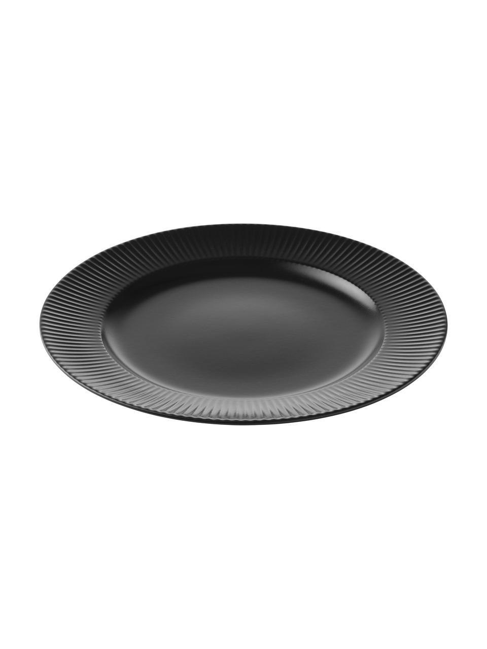 Talerz duży Groove, 4 szt., Kamionka, Czarny, Ø 27 x W 1 cm