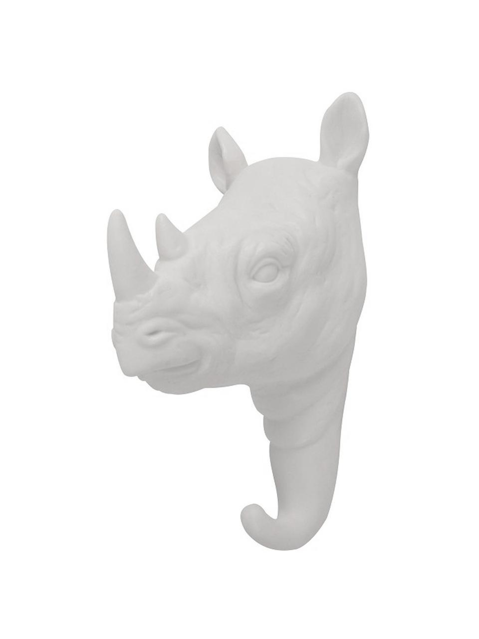 Gancio appendiabiti da parete in porcellana Rhino, Porcellana, Bianco, Alt. 14 cm