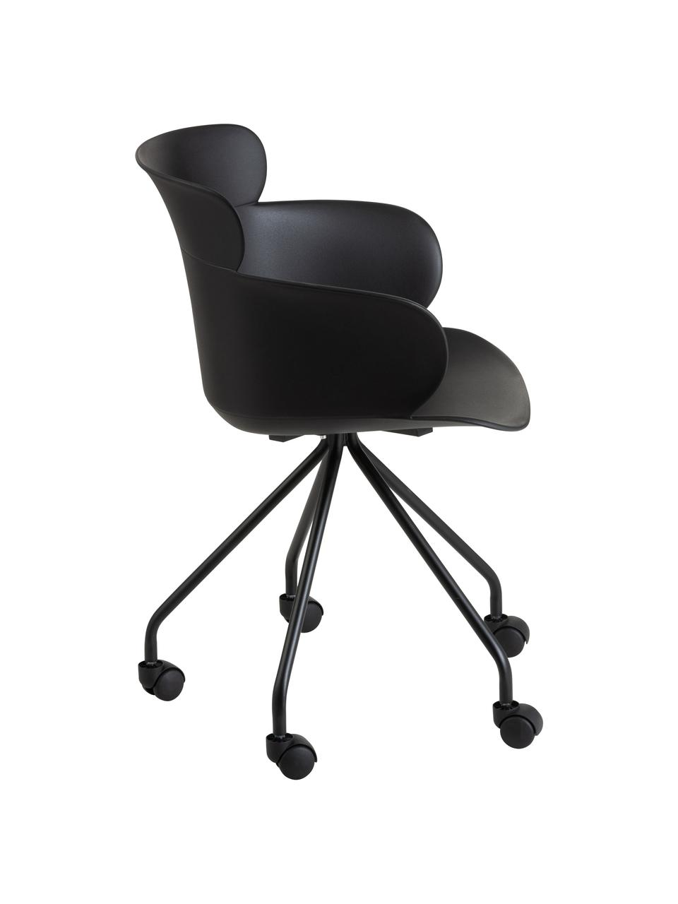 Kunststoff-Bürostuhl Eva mit Rollen, Kunststoff (PP), Schwarz, B 60 x T 54 cm