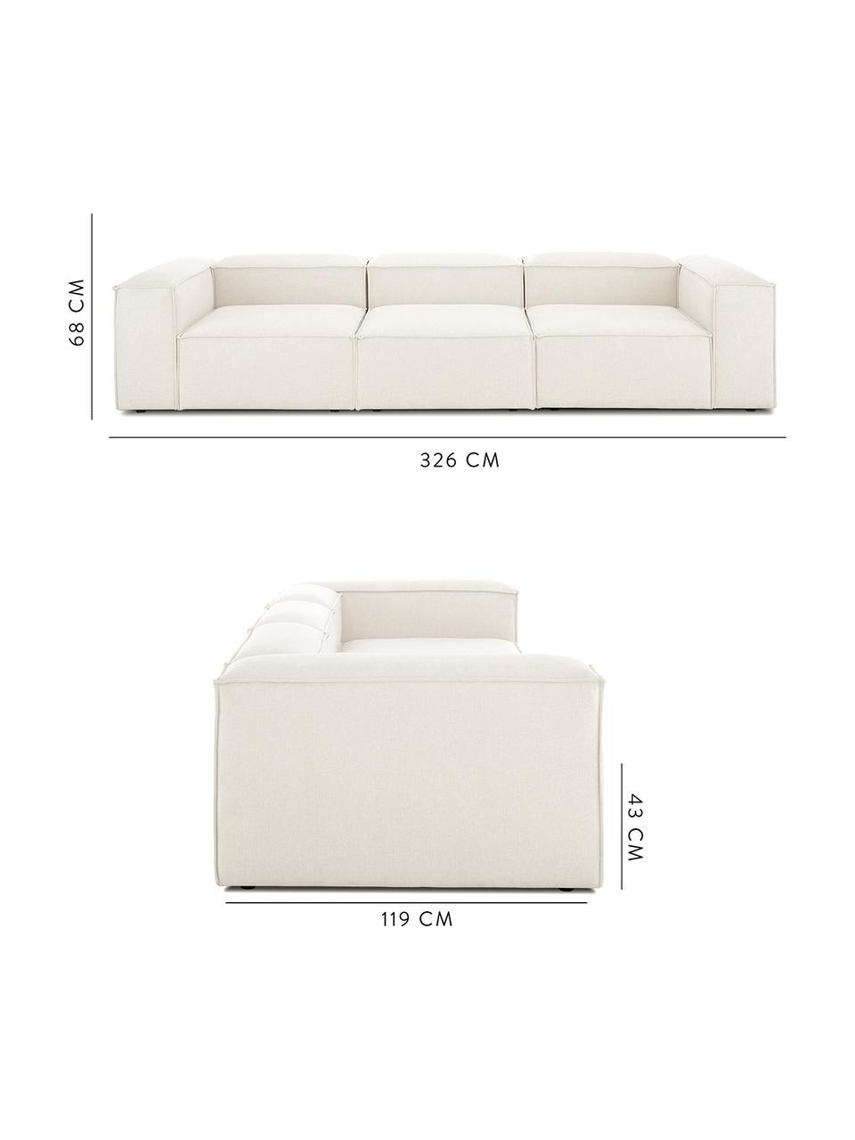 Sofa modułowa Lennon (4-osobowa), Tapicerka: poliester Dzięki tkaninie, Nogi: tworzywo sztuczne, Beżowy, S 326 x G 119 cm