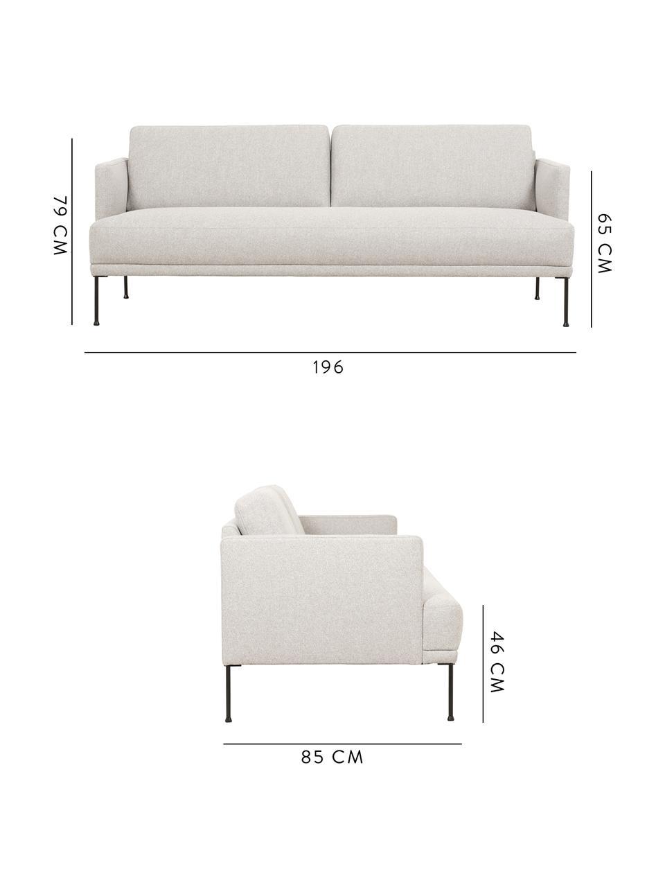 Sofa Fluente (3-Sitzer), Bezug: 80% Polyester, 20% Ramie , Gestell: Massives Kiefernholz, Füße: Metall, pulverbeschichtet, Webstoff Beige, B 196 x T 85 cm