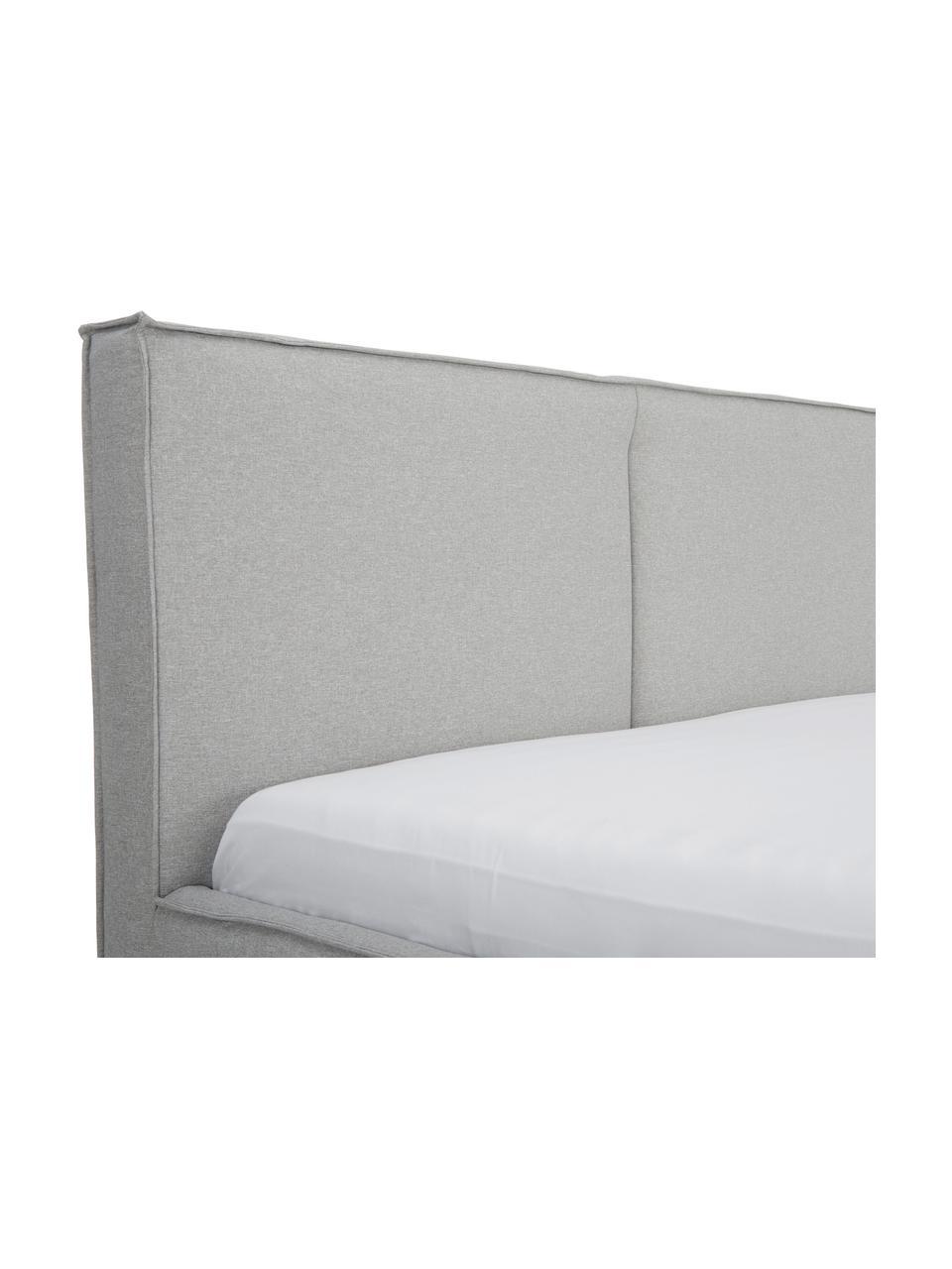 Letto imbottito in tessuto grigio con contenitore Dream, Rivestimento: Poliestere (tessuto strut, Grigio scuro, 180 x 200 cm