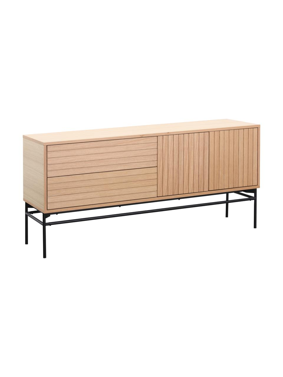 Modernes Sideboard Johan mit Türen und Eichenholzfurnier, Korpus: Mitteldichte Holzfaserpla, Füße: Metall, pulverbeschichtet, Korpus: EichenholzfurnierFüße: Schwarz, matt, 160 x 75 cm