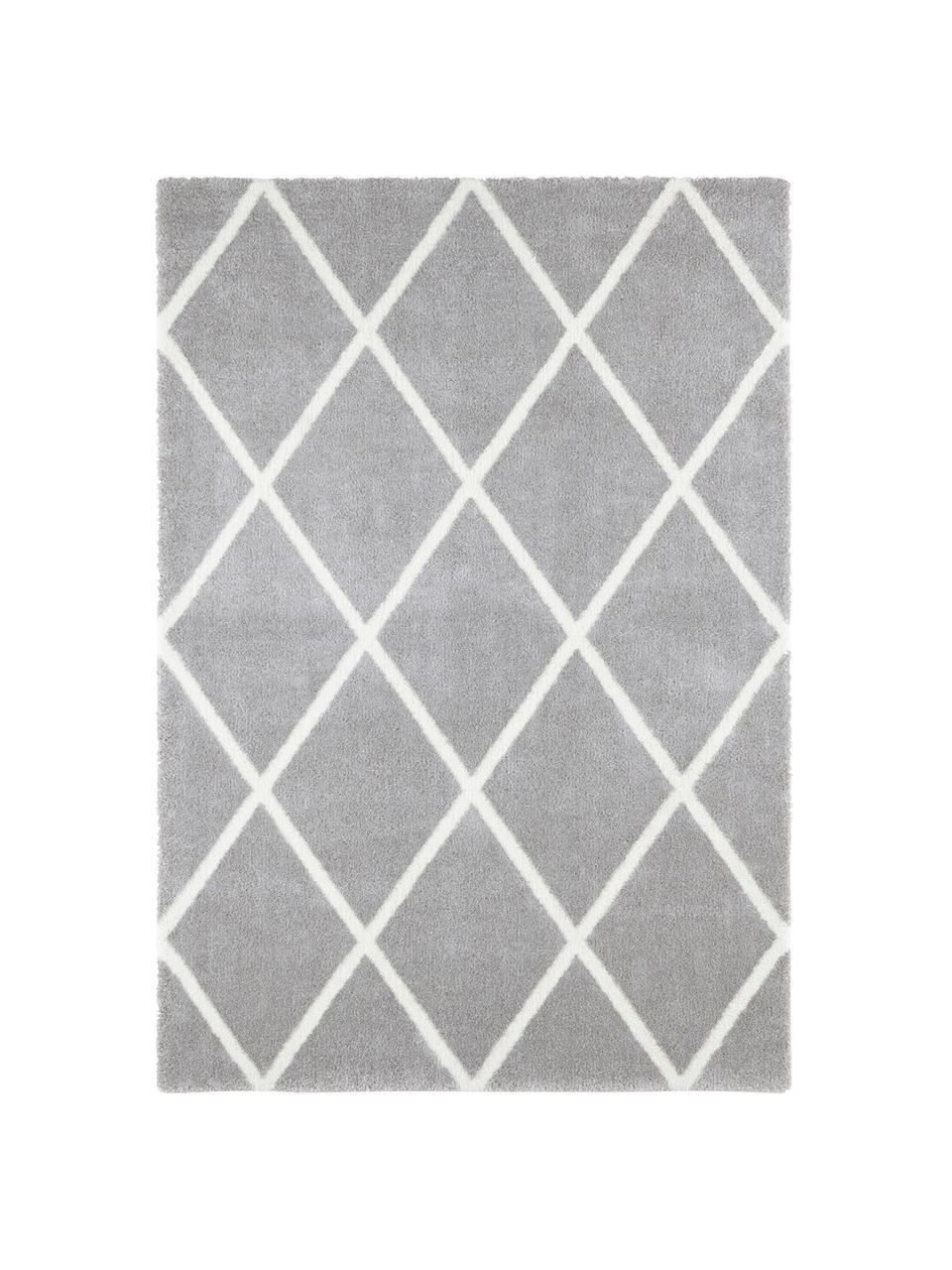 Koberec sdiamantovým vzorem Lunel, Odstíny stříbrné, krémová
