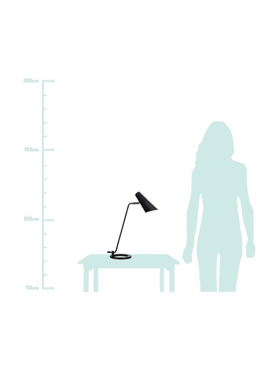 Große Schreibtischlampe Cal aus Metall, Lampenschirm: Metall, lackiert, Lampenfuß: Metall, lackiert, Schwarz<br>Lampenschirm innen: Weiß, 40 x 50 cm