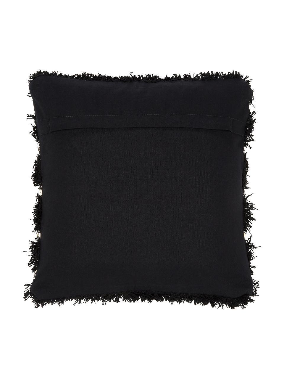 Funda de cojín texturizada Joana, 100%algodón, Beige, negro, An 45 x L 45 cm