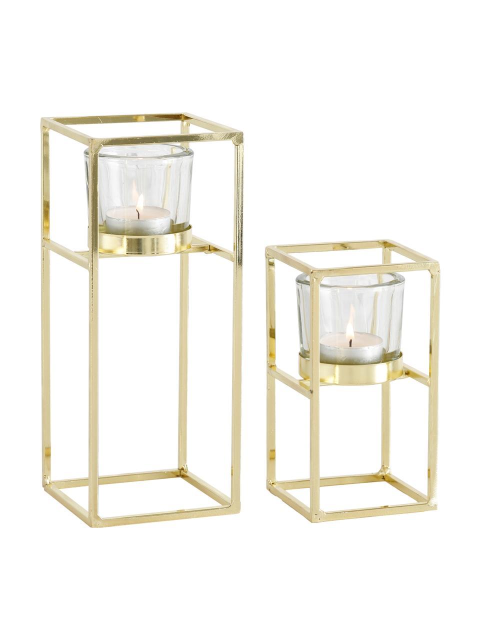 Teelichthalter-Set Tonia, 2-tlg., Windlicht: Glas, Gestell: Metall, beschichtet, Transparent, Messingfarben, Sondergrößen