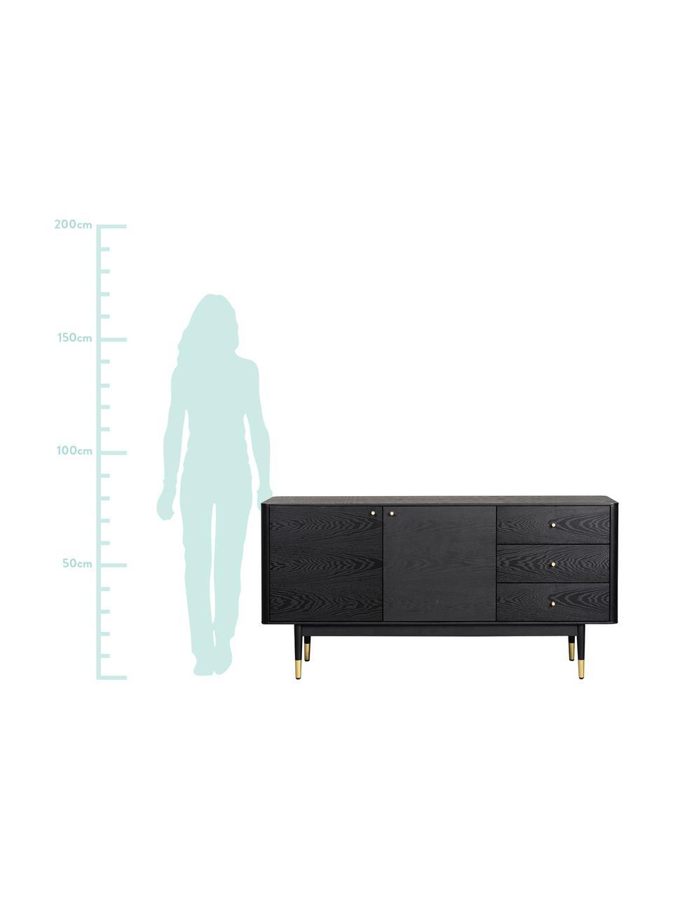 Schwarzes Sideboard Fenwood mit Schubladen mit Eichenholzfurnier, Korpus: Mitteldichte Holzfaserpla, Füße: Eichenholz, massiv, lacki, Schwarz, Messingfarben, 160 x 79 cm