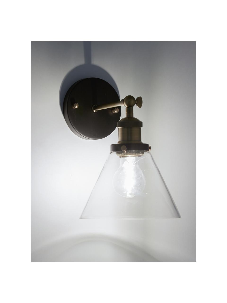 Lampada da parete New York Loft No.1, Baldacchino: metallo verniciato a polv, Paralume: vetro, Nero, ottone trasparente, Larg. 19 x Alt. 29 cm