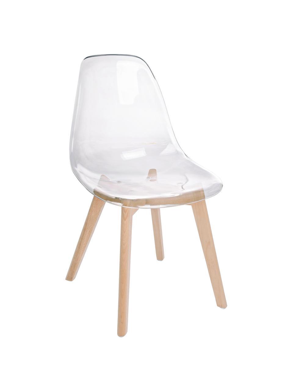 Chaise avec assise transparente Easy, 2pièces, Transparent, bois de hêtre