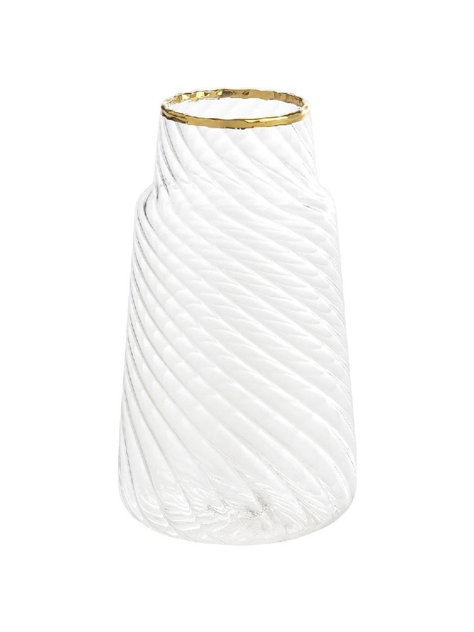 Vaso in vetro Plunn, Vetro, Trasparente, dorato, Ø 6 x Alt. 11 cm