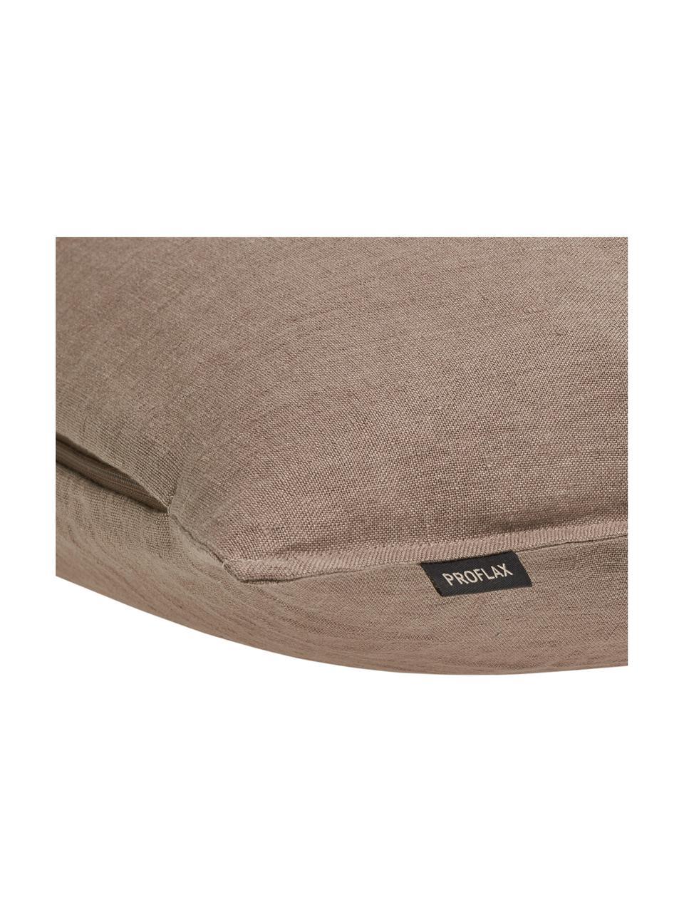 Federa in lino lavato marrone Sven, 100% lino, Marrone, Larg. 60 x Lung. 60 cm