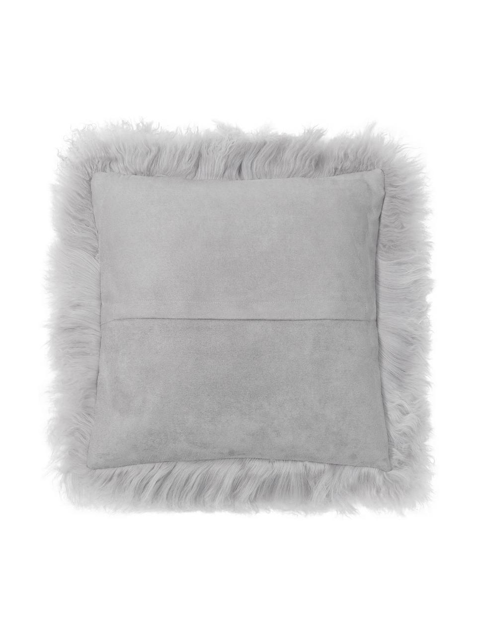 Poszewka na poduszkę ze skóry jagnięcej o długim włosiu Ella, Jasnoszary, S 40 x D 40 cm