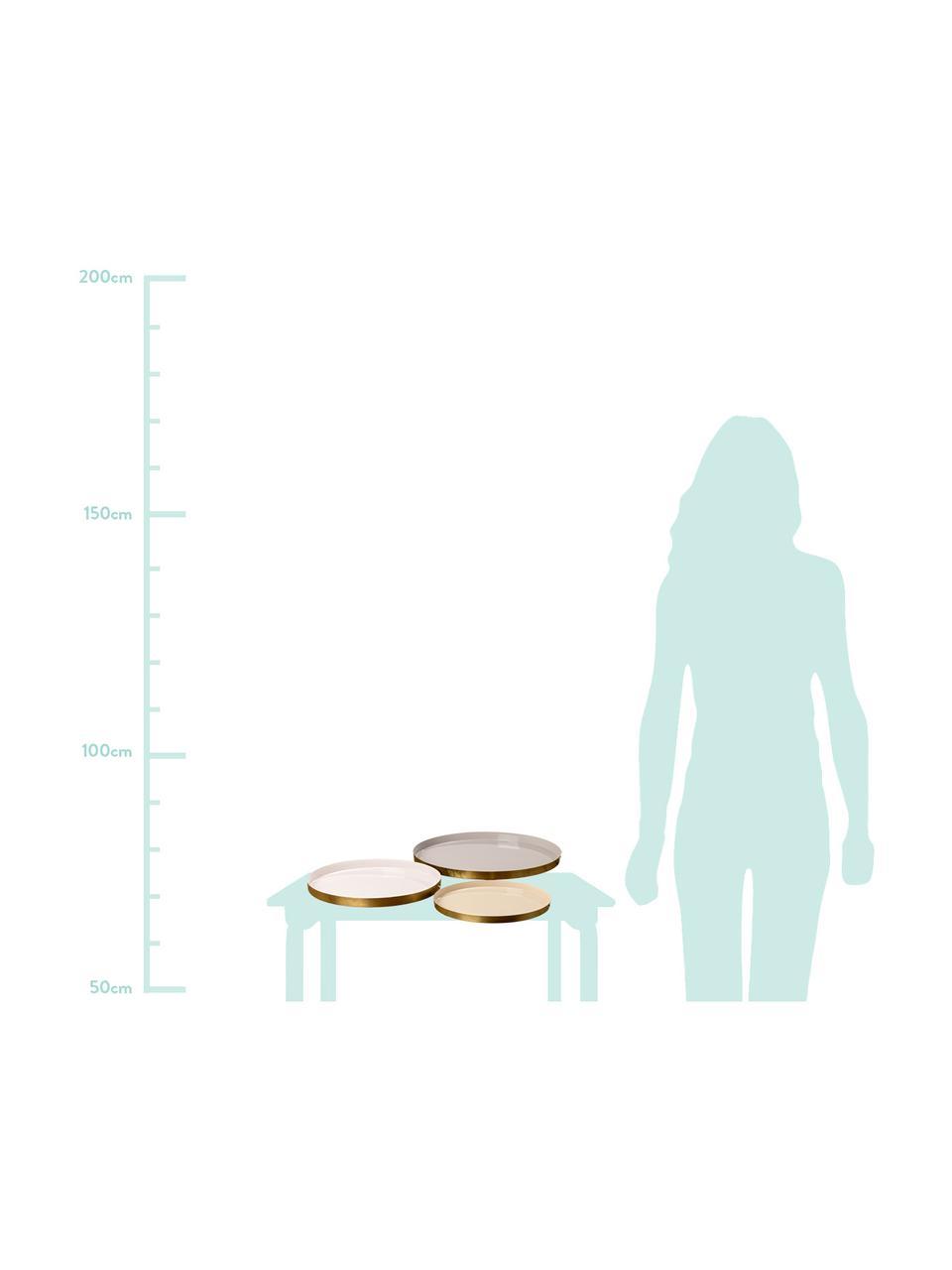 Deko-Tablett-Set Ayra, 3-tlg., Metall, lackiert, Grau, Beige, Weiß<br>Außenrand: Jeweils Goldfarben, Sondergrößen