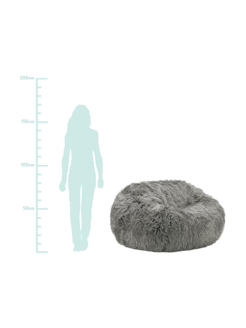 Poltrona sacco in similpelle Flokati, Rivestimento: 95% acrilico, 5% polieste, Grigio, Ø 140 x Alt. 90 cm