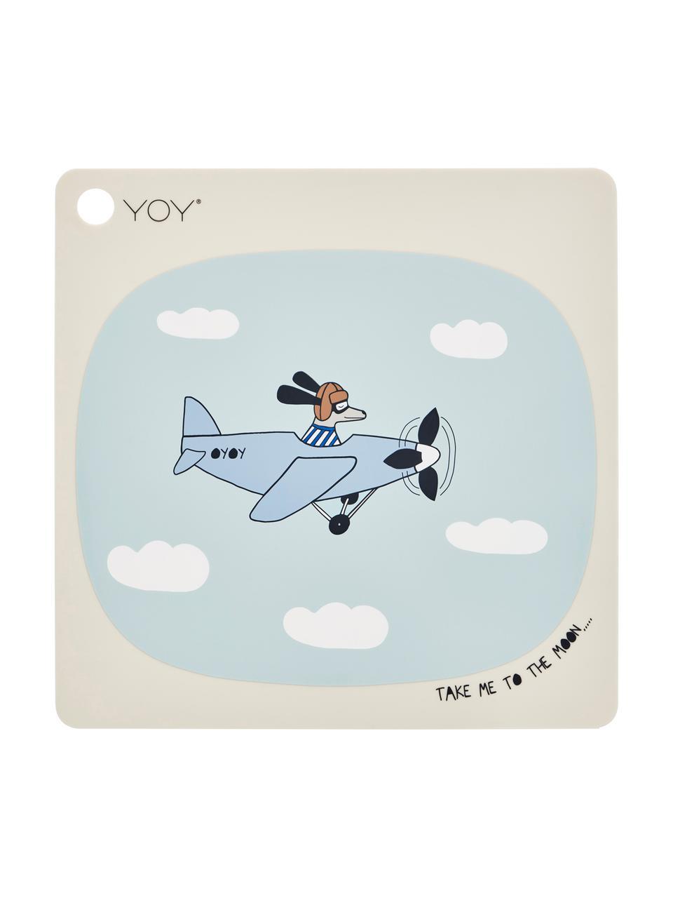 Tischset Aeroplane, Silikon, Beige, Blau, Weiß, Schwarz, Braun, 38 x 38 cm