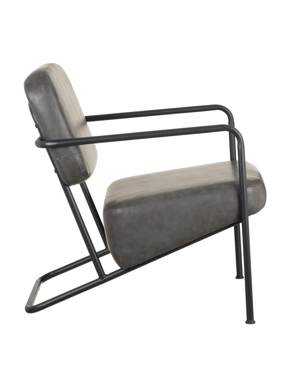 Kunstleder-Loungesessel Arms mit Metall-Gestell, Bezug: Kunstleder, Gestell: Schichtholz, Rahmen: Metall, beschichtet, Grau, B 57 x T 76 cm