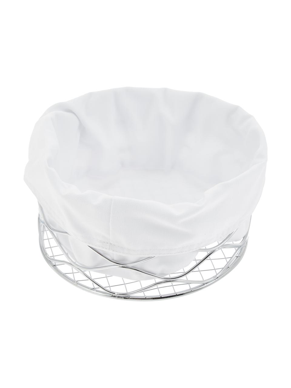Brotkorb Alana mit herausnehmbarem Beutel, Brotkorb: Metall, verchromt, Beutel: 100% Baumwolle, Chrom, Weiß, Ø 21 x 11 cm