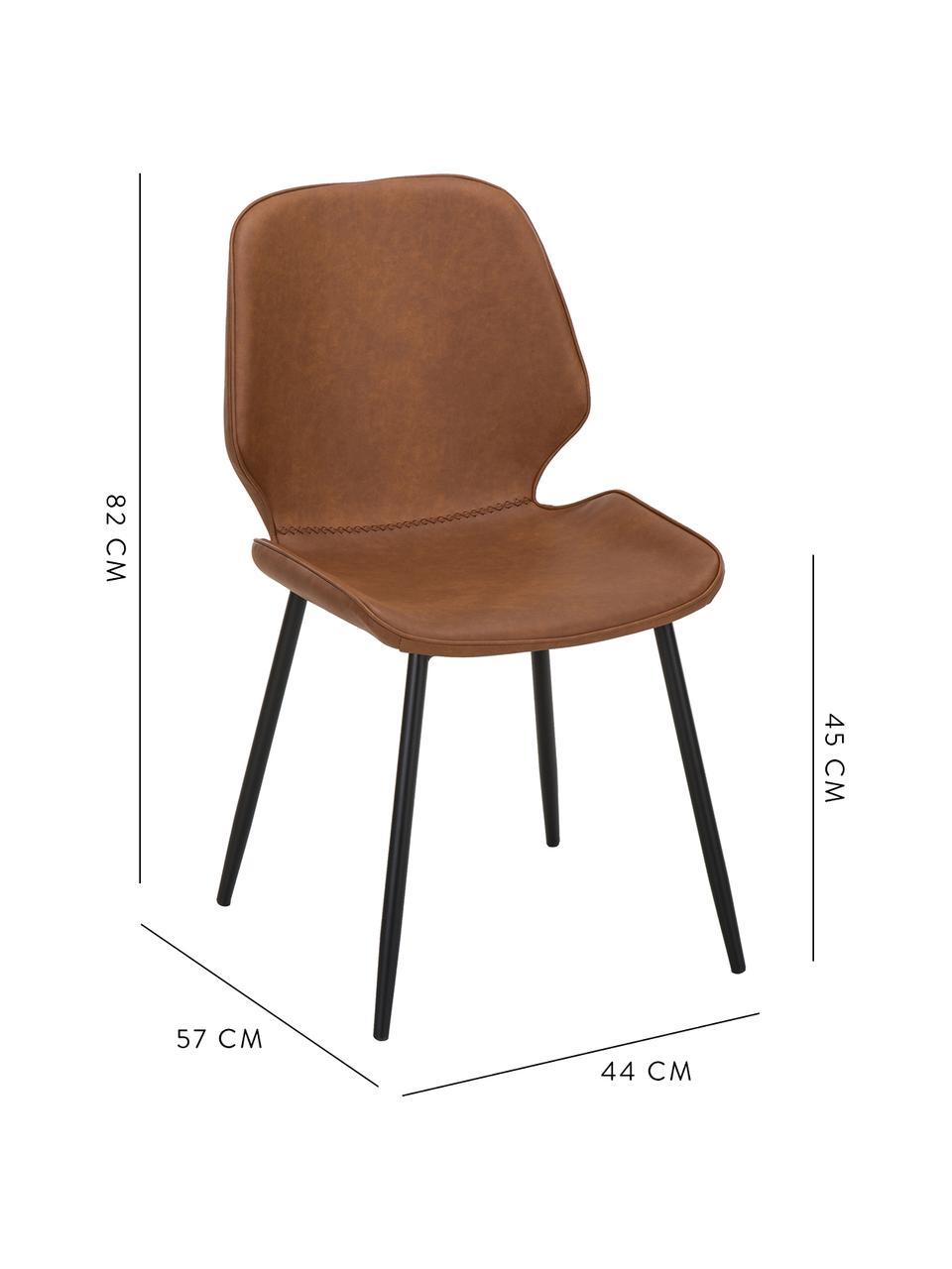 Krzesło tapicerowane ze sztucznej skóry  Louis, 2 szt., Tapicerka: sztuczna skóra (65% polie, Tapicerka: pianka, Nogi: metal malowany proszkowo, Tapicerka: koniakowy Nogi: czarny, matowy, S 44 x G 57 cm
