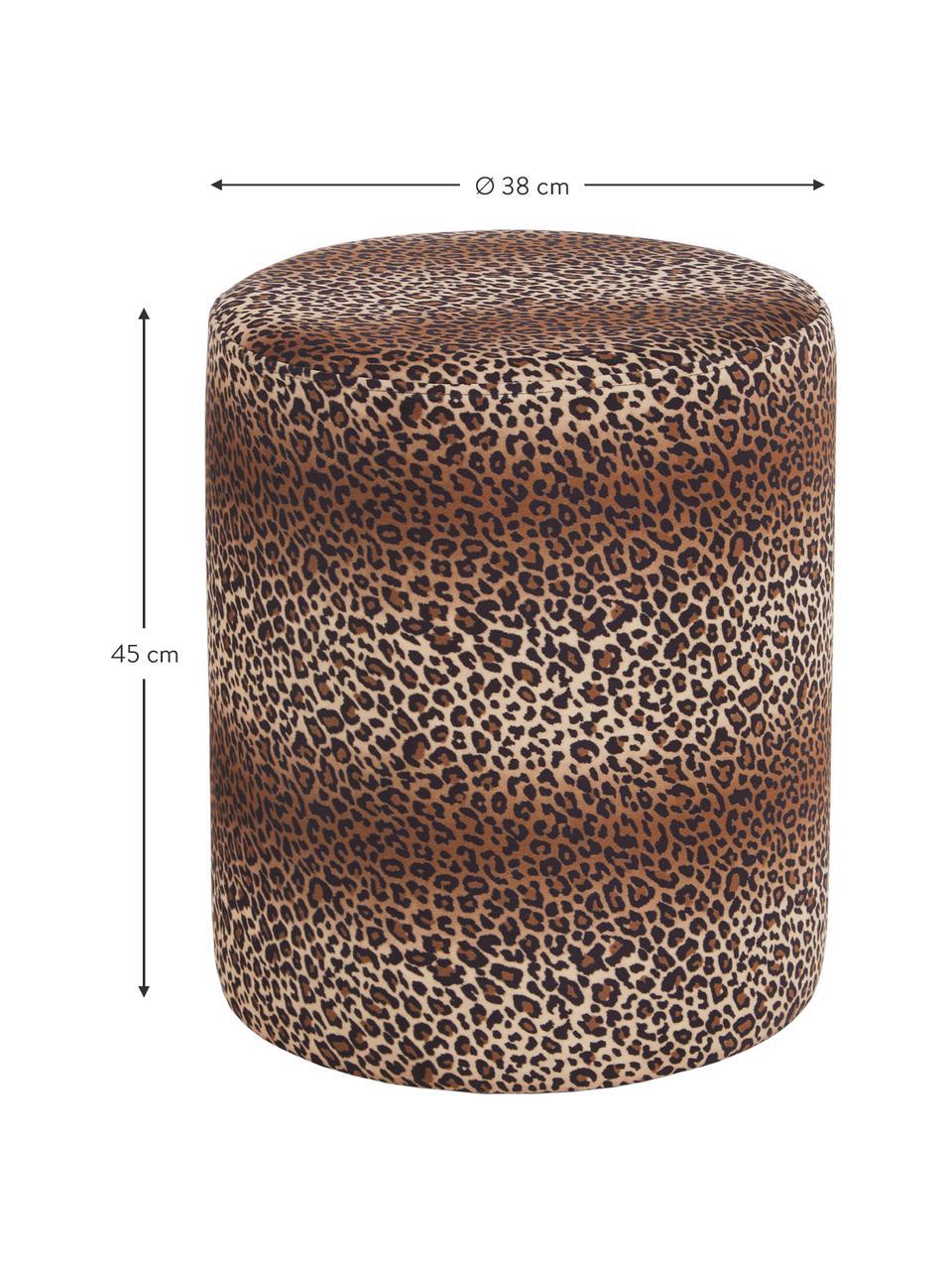 Samt-Hocker Daisy mit braunem Leo-Muster, Bezug: Samt (Polyester) Der hoch, Rahmen: Sperrholz, Braun, Ø 38 x H 45 cm