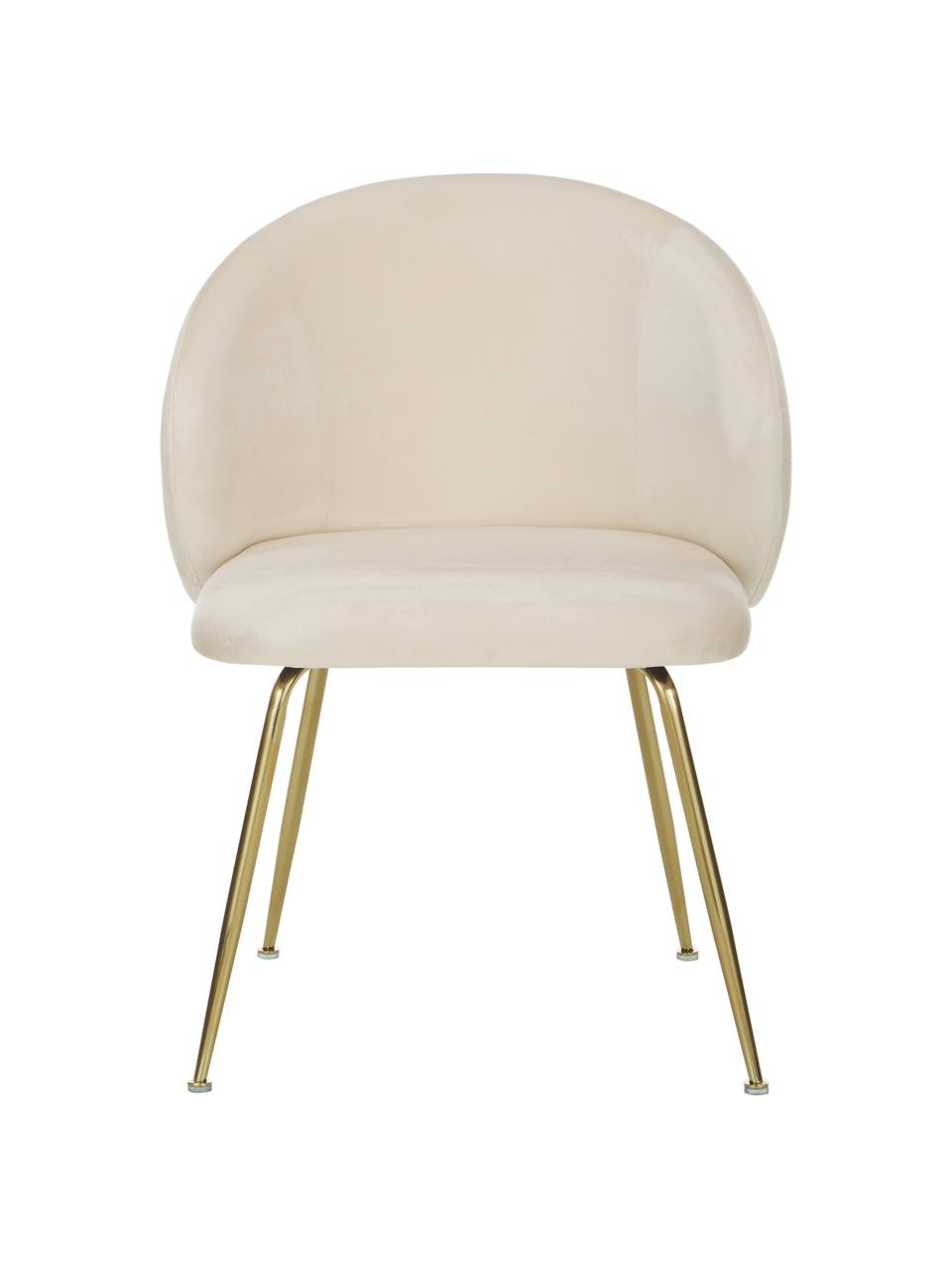 Chaise velours rembourré Luisa, 2pièces, Velours blanc crème, or