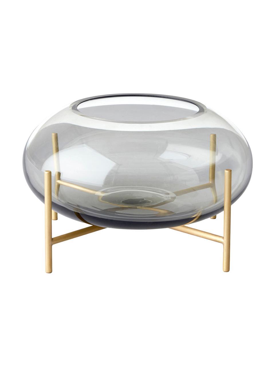 Teelichthalter Hurricane, Messing, gebürstet Glas, Messing, Grau, Ø 14 x H 9 cm