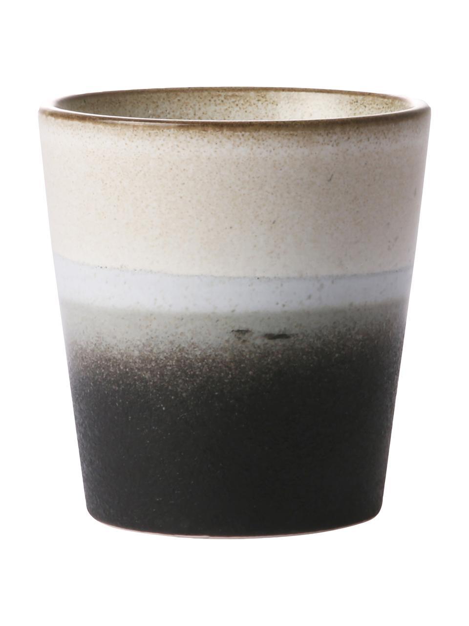 Handgemachte XS Becher 70's im Retro Style, 4 Stück, Steingut, Schwarz, Weiß, Ø 8 x H 8 cm