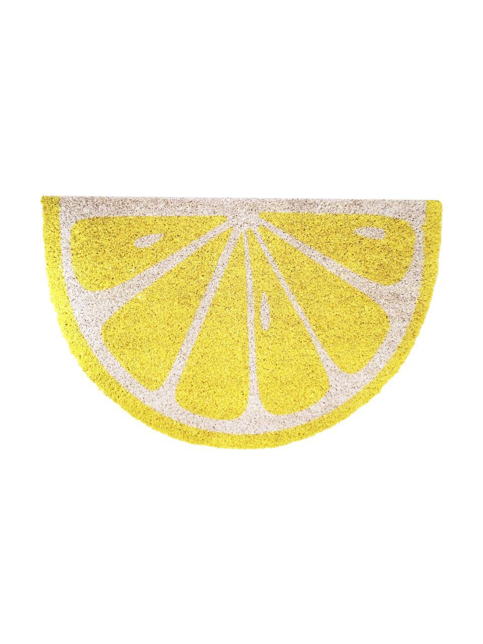 Fußmatte Lemon, Oberseite: Kokosfaser, Unterseite: PVC, Gelb, gebrochenes Weiß, 40 x 60 cm