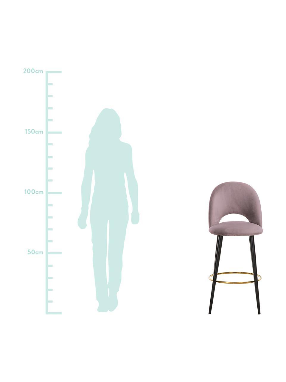 Sedia da bar in velluto malva Rachel, Rivestimento: velluto (poliestere) 50.0, Gambe: metallo verniciato a polv, Velluto malva, Larg. 48 x Alt. 110 cm