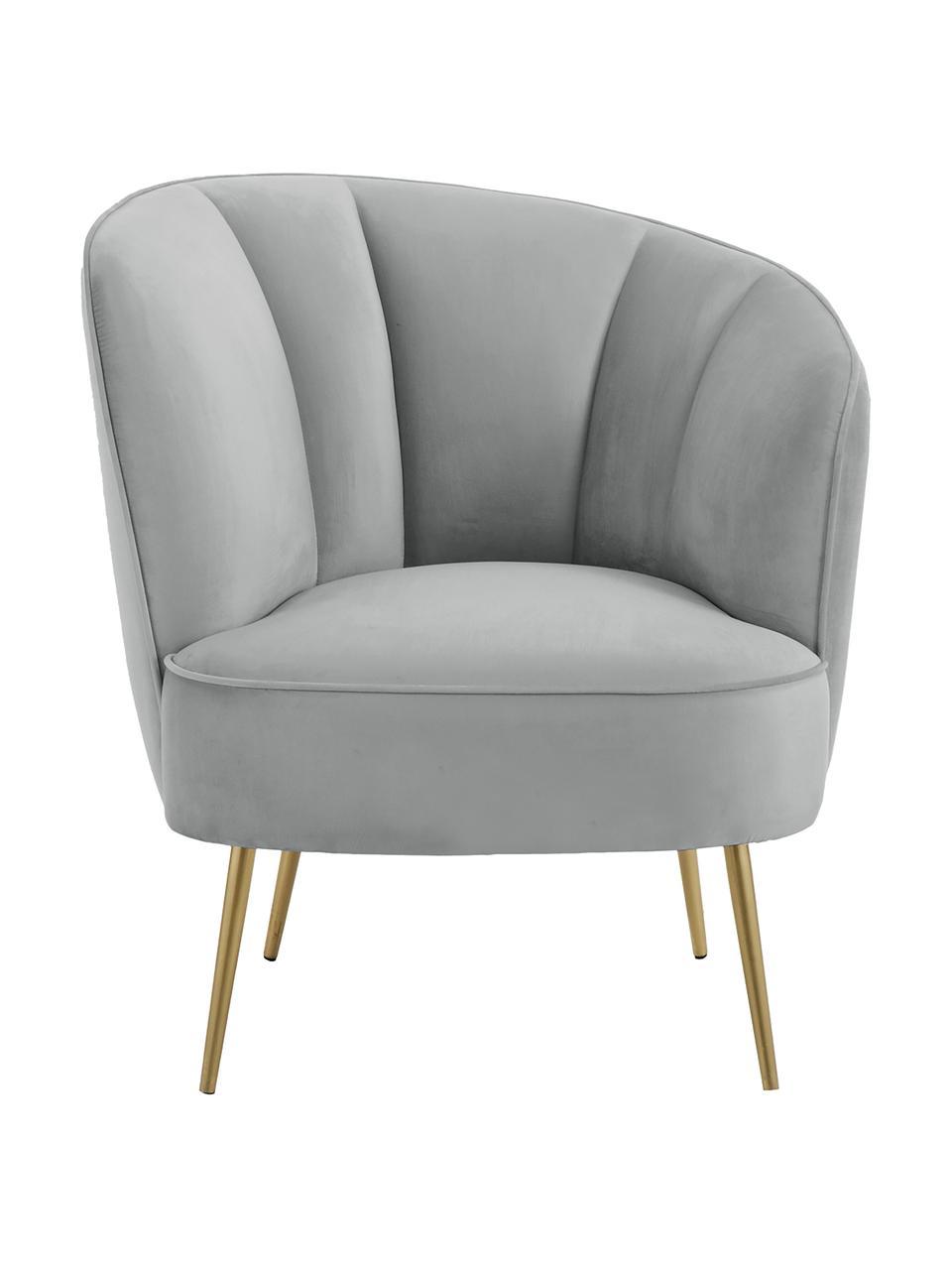 Fluwelen fauteuil Louise in lichtgrijs, Bekleding: fluweel (polyester), Poten: gecoat metaal, Bekleding: lichtgrijs. Poten: glanzend geborsteld goudkleurig, B 76 x D 74 cm