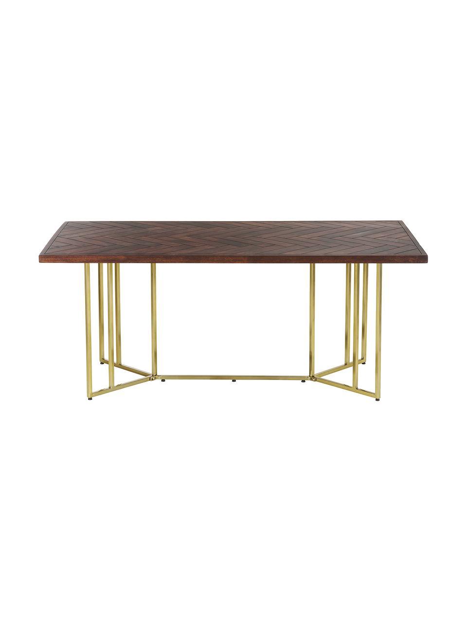 Mesa de comedor Luca, tablero de madera maciza, Tablero: madera de mango maciza, p, Estructura: metal recubierto, Madera oscura, dorado, An 220 x F 100 cm
