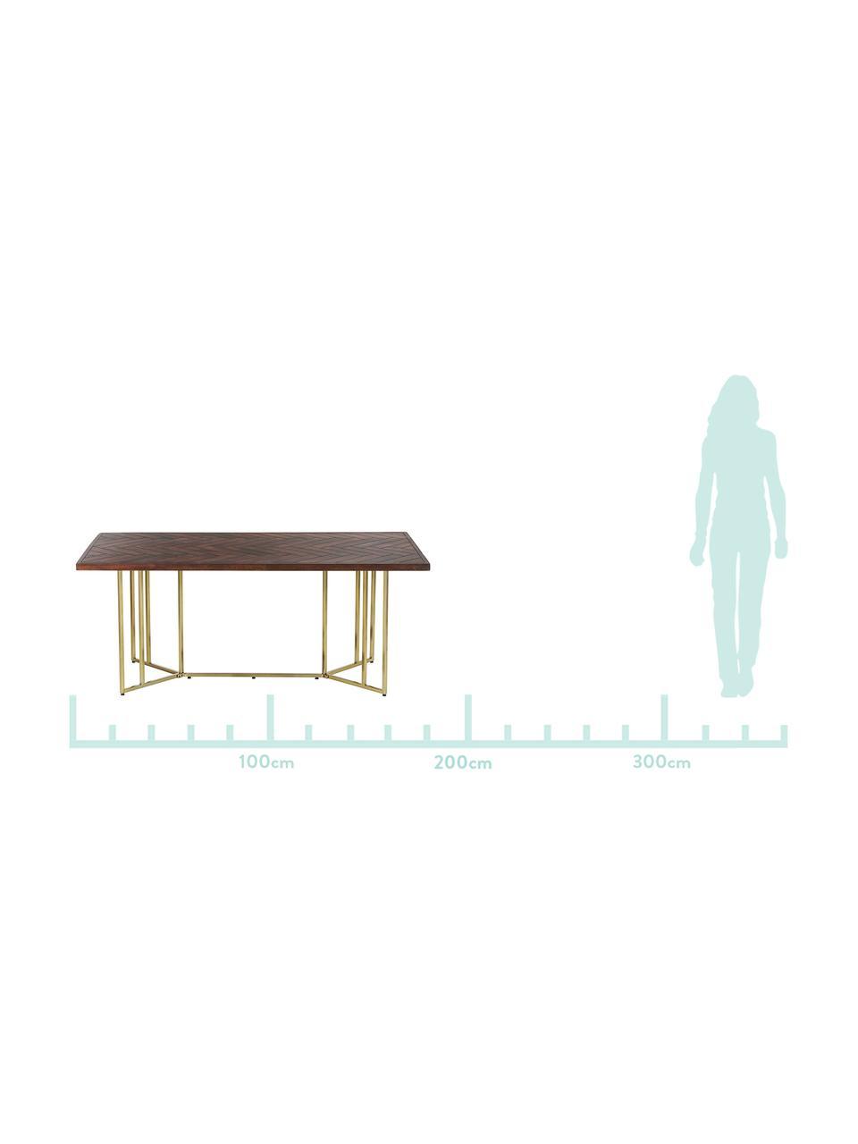 Massivholz Esstisch Luca mit Fischgrätmuster, Tischplatte: Massives Mangoholz, lacki, Gestell: Metall, beschichtet, Tischplatte: Mangoholz, dunkel lackiertGestell: Goldfarben, B 220 x T 100 cm
