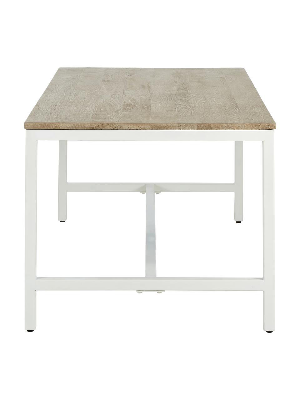 Table avec plateau en bois massif Raw, Plateau: bois de manguier avec entailles Structure: blanc, mat