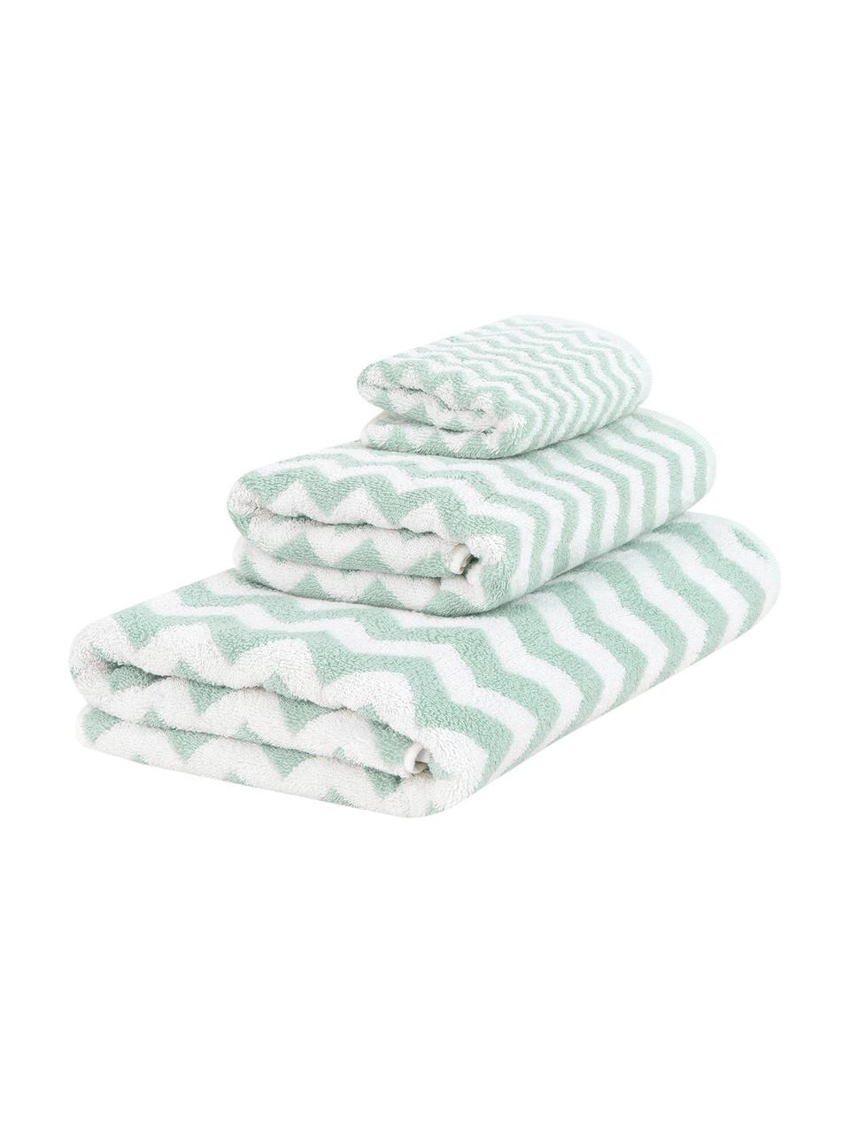 Set 3 asciugamani con motivo a zigzag Liv, Verde menta, bianco crema, Set in varie misure