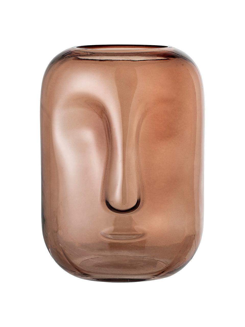 Vase en verre Face, Brun, transparent