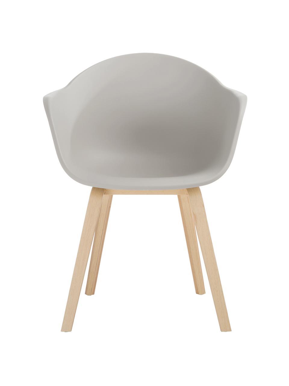 Chaise à accoudoirs Claire, Gris-beige Pieds: bois de hêtre