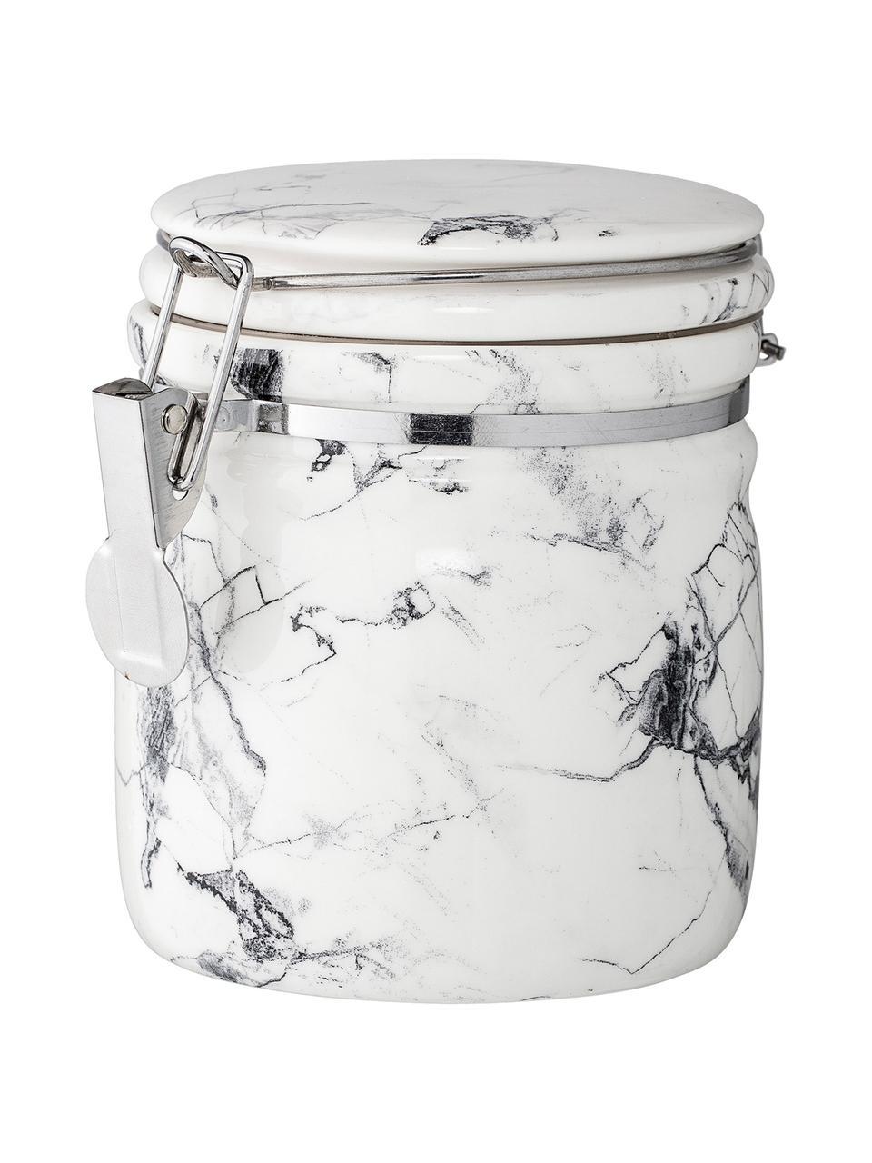 Contenitore con coperchio White Marble, Contenitore: porcellana, Bianco, nero, marmo, Ø 10 x Alt. 12 cm