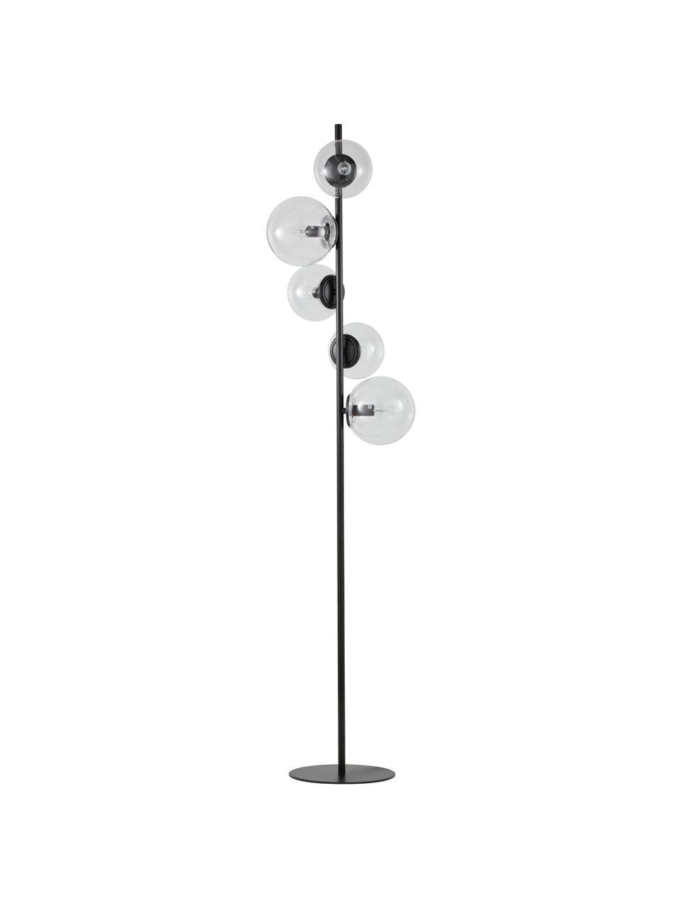Industriële vloerlamp Casey van glas, Lampvoet: gepoedercoat metaal, Zwart, H 170 cm