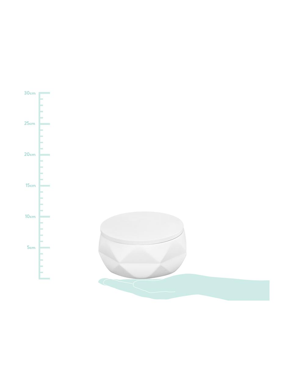Bad-Aufbewahrungsdose Crackle aus bruchfestem Polyresin, Polyresin, Weiß, Ø 11 x H 6 cm