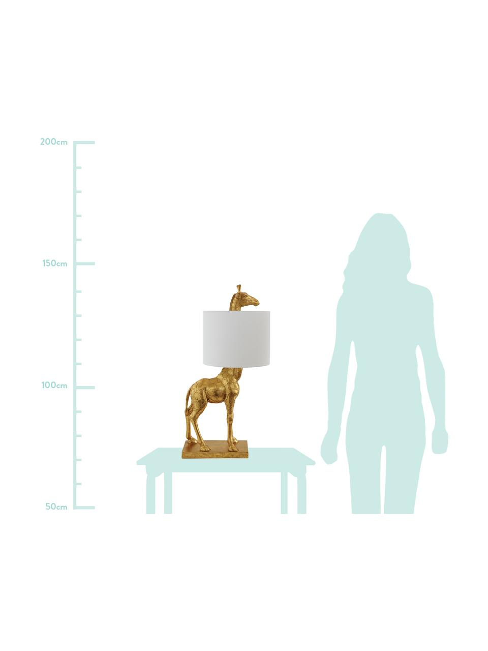 Grote design tafellamp Epigaea met linnen kap, Lampvoet: polyresin, Lampenkap: linnen, Goudkleurig, wit, 35 x 70 cm