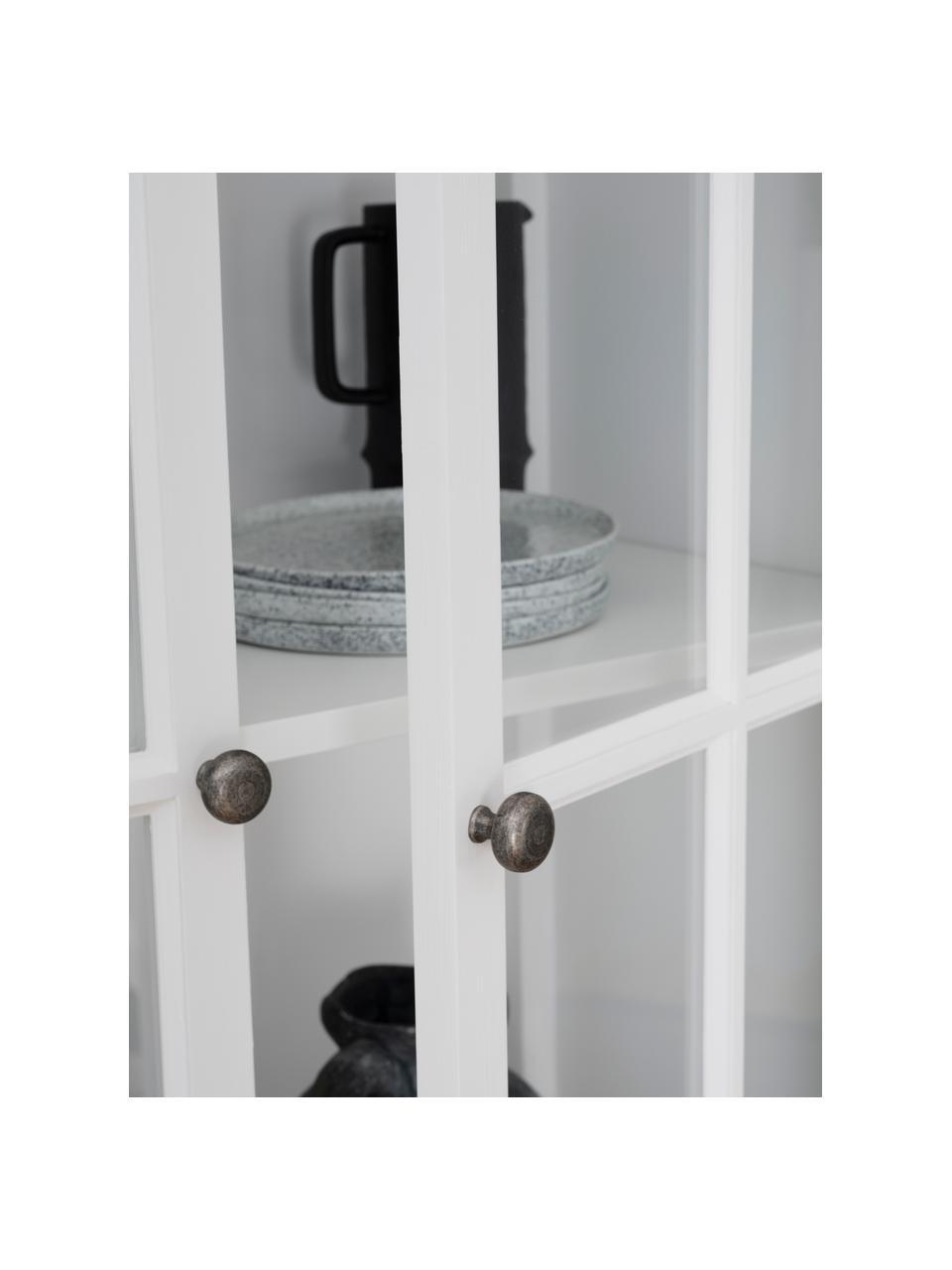 Vitrinekast Lorient in wit met deuren, Gelakt grenenhout, MDF, Wit, 95 x 185 cm