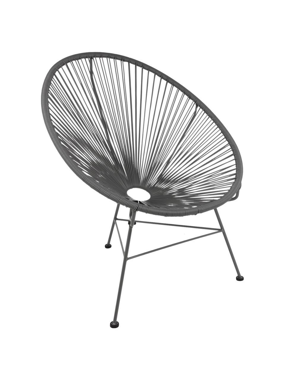 Loungefauteuil Bahia uit kunstvlechtwerk, Zitvlak: kunststof, Frame: gepoedercoat metaal, Zitvlak: grijs. Frame: grijs, B 81 x D 73 cm
