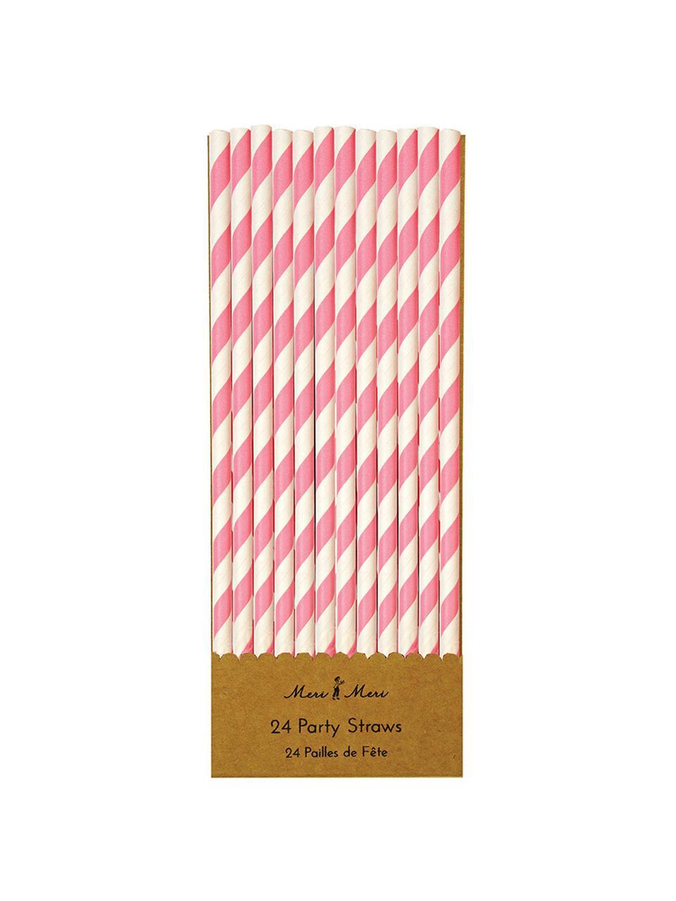 Papier-Strohhalme Agni in Weiß/Pink, 24 Stück, Papier, Weiß, Pink, Ø 1 x H 20 cm