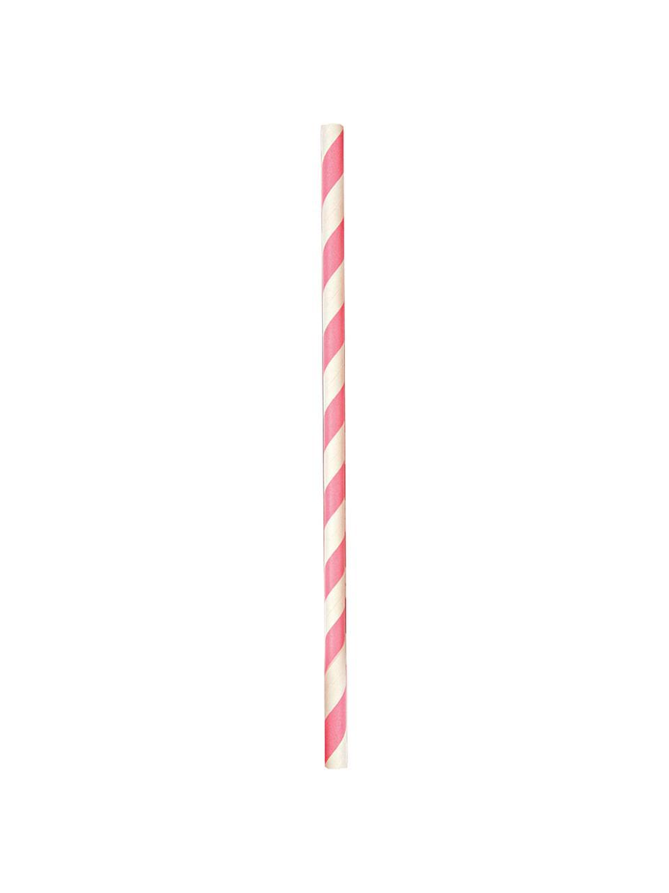 Strohhalme Agni, 24 Stück, Papier, Weiß, Pink, Ø 1 x H 20 cm
