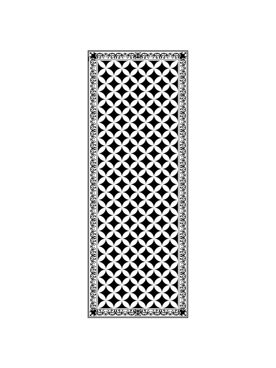 Tappetino antiscivolo nero/bianco in vinile Chadi, Vinile riciclabile, Nero, bianco, Larg. 65 x Lung. 255 cm