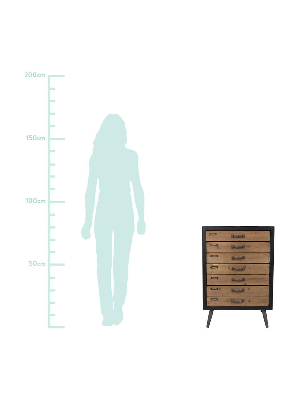 Cassettiera industrial Sol, Nero, legno di pino, Larg. 55 x Alt. 80 cm