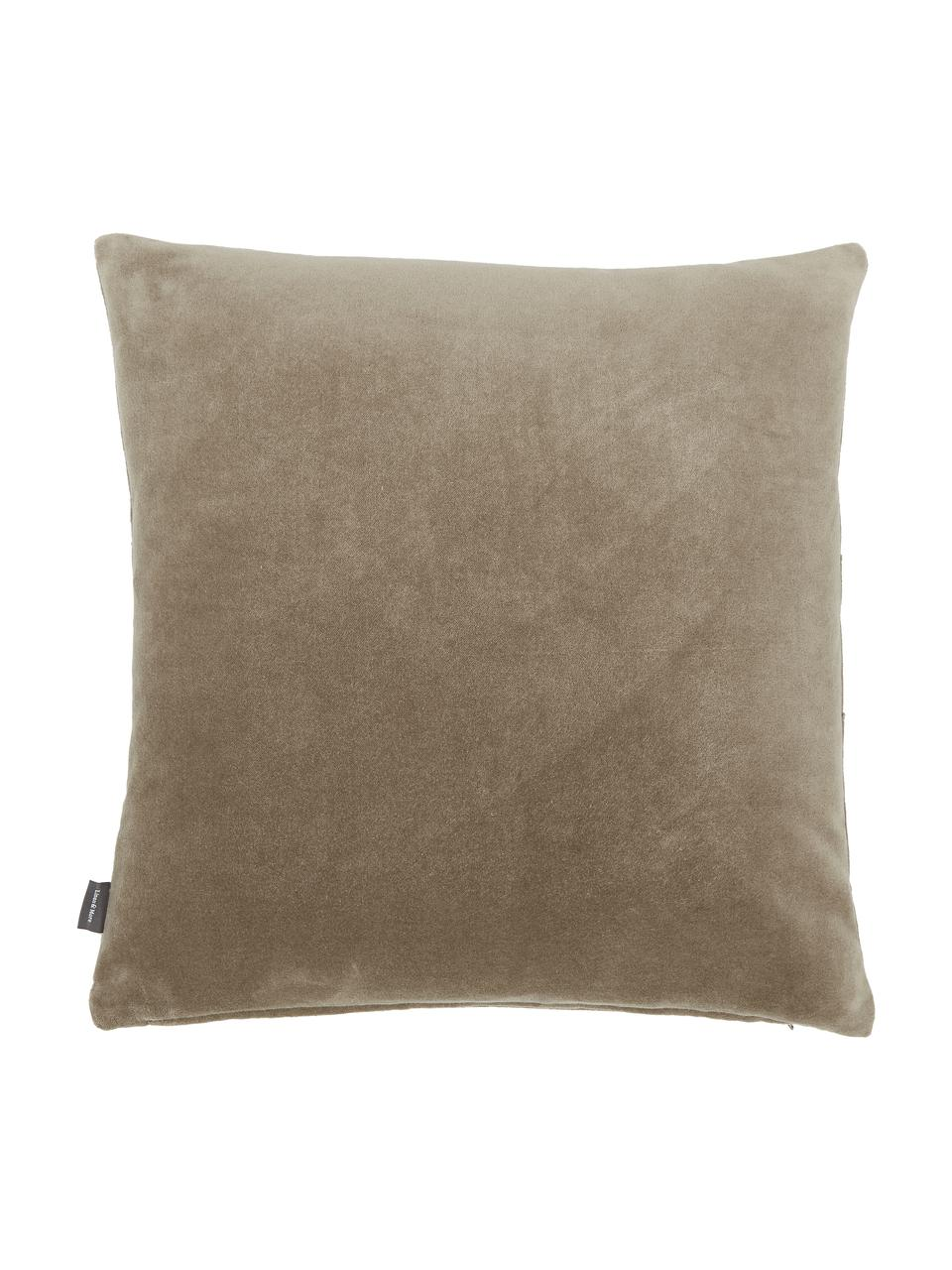 Samt-Kissen Pintuck in Braun mit erhabenem Strukturmuster, mit Inlett, Bezug: 55% Rayon, 45% Baumwolle, Webart: Samt, Taupe, 45 x 45 cm