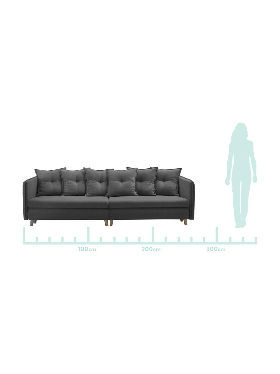 Sofa rozkładana z aksamitu Opti (4-osobowa), Tapicerka: 100% aksamit poliestrowy, Nogi: metal lakierowany, Ciemny szary, S 264 x G 103 cm